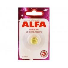 Напёрсток ALFA, цвет золото, размер 8 AF-H1038G