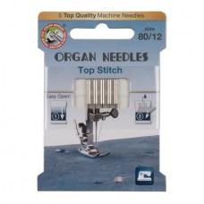 Иглы Organ для отстрочки Top Stitch № 80 5 шт. 130N.80.5.TOP.ST. ECO