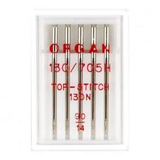 Иглы Organ для отстрочки Top Stitch № 90 5 шт. 130N.90.5.TOP.ST