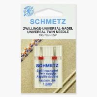 Иглы Schmetz двойные универсальные № 80/1.6 2 шт. 130/705H-ZWI