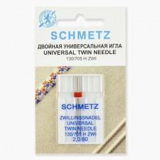 Иглы Schmetz двойные универсальные № 80/2 1 шт. 130/705H-ZWI