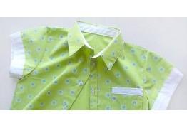 Детская рубашка с коротким рукавом и карманом