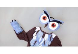 Карнавальный костюм совы с глазами, митенками и перьями
