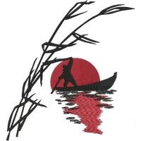 Дизайн машинной вышивки Закат на лодке скачать