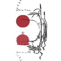 Дизайн машинной вышивки Камыш на закате скачать