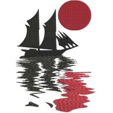 Дизайн машинной вышивки Плывущий корабль скачать