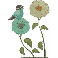 Дизайн машинной вышивки Голубая птичка скачать