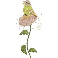 Дизайн машинной вышивки Жёлтая птичка скачать