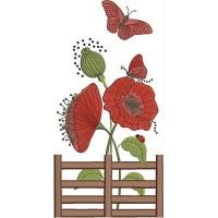Дизайн машинной вышивки Заборчик с маками и бабочкой скачать