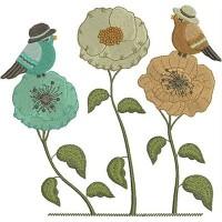 Дизайн машинной вышивки Цветочки и птички скачать