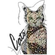 Дизайн машинной вышивки Кот скачать
