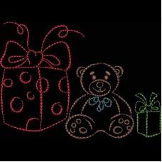 Дизайн машинной вышивки Подарки с мишкой скачать