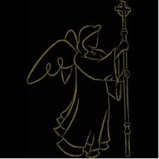 Дизайн машинной вышивки Ангел с посохом скачать