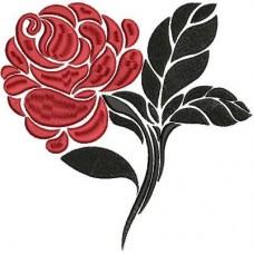 Дизайн машинной вышивки Роза в красном и чёрном скачать