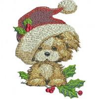 Дизайн машинной вышивки Новогодний щенок скачать
