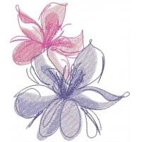 Дизайн машинной вышивки Цветочный дуэт скачать