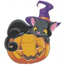 Дизайн машинной вышивки Чёрный кот с тыквой скачать