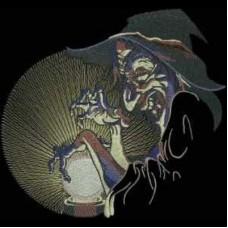 Дизайн машинной вышивки Ведьма и шар скачать
