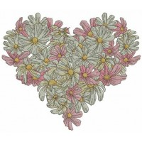 Дизайн машинной вышивки Сердце из ромашек скачать