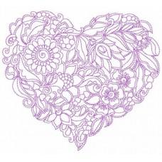 Дизайн машинной вышивки Фиолетовое сердце скачать