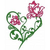 Дизайн машинной вышивки Сердце из роз скачать