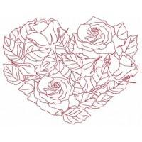Дизайн машинной вышивки Сердце из роз 2 скачать