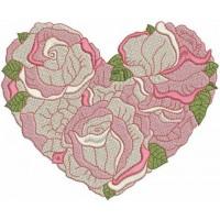 Дизайн машинной вышивки Сердце из роз 3 скачать