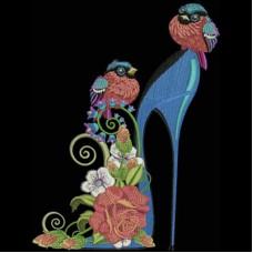Дизайн машинной вышивки Туфелька с крапивницами скачать