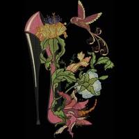 Дизайн машинной вышивки Туфелька с колибри скачать