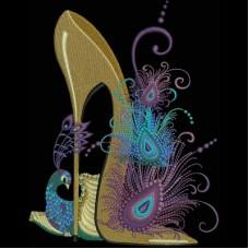Дизайн машинной вышивки Туфелька с павлином скачать