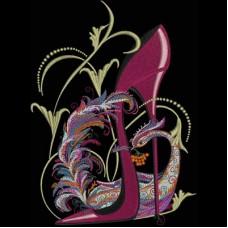 Дизайн машинной вышивки Туфелька с фантастическим павлином скачать