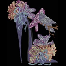 Дизайн машинной вышивки Туфелька с тюльпанами скачать