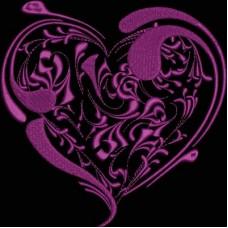 Дизайн машинной вышивки Сердце с абстрактными розами скачать