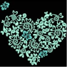 Дизайн машинной вышивки Мятное сердце скачать