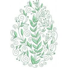Дизайн машинной вышивки Пасхальное яйцо с листьями скачать