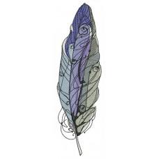 Дизайн машинной вышивки Перо Голубой Фиолетовый Серый скачать