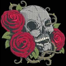 Дизайн машинной вышивки Череп и розы скачать