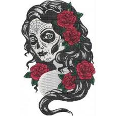 Дизайн машинной вышивки Череп и розы 01 скачать