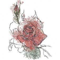 Дизайн машинной вышивки Роза и бутон скачать