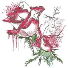 Дизайн машинной вышивки Розы красные с белым скачать