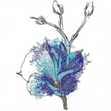 Дизайн машинной вышивки Голубой цветок скачать