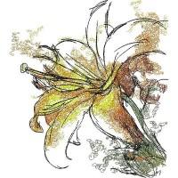 Дизайн машинной вышивки Жёлтая лилия скачать