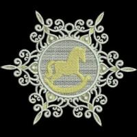 Дизайн машинной вышивки Снежинка Лошадка скачать