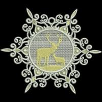 Дизайн машинной вышивки Снежинка Два оленя скачать