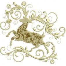 Дизайн машинной вышивки Рождественский олень скачать
