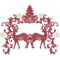 Дизайн машинной вышивки Два рождественских оленя скачать