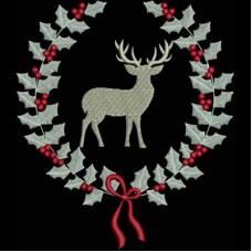Дизайн машинной вышивки Венок с оленем скачать