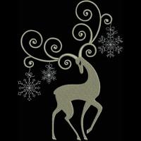 Олень со снежинками