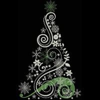 Ёлка с завитками и снежинками