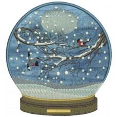 Дизайн машинной вышивки Шар Зимние птицы скачать